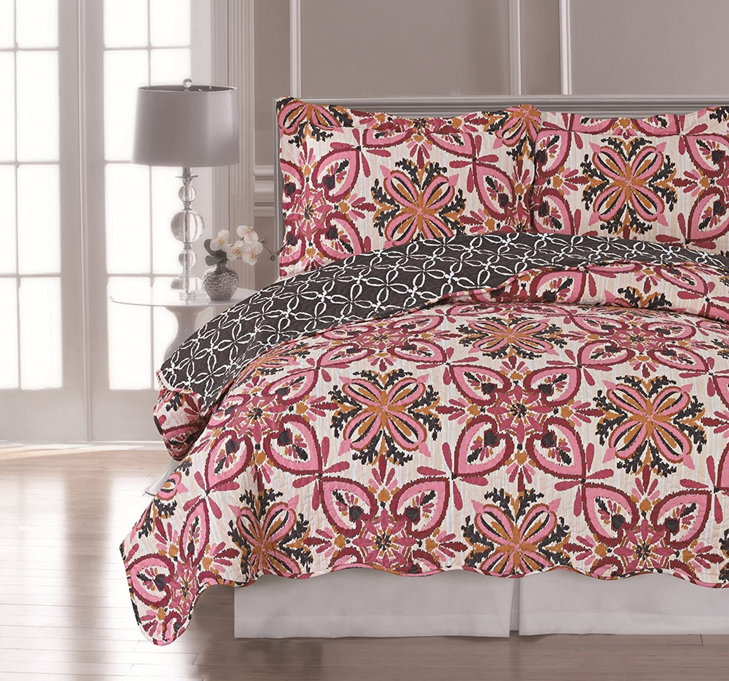 Elaine Karen Luxury Reversible VALENTINA Printed 3-Piece Quilt Set