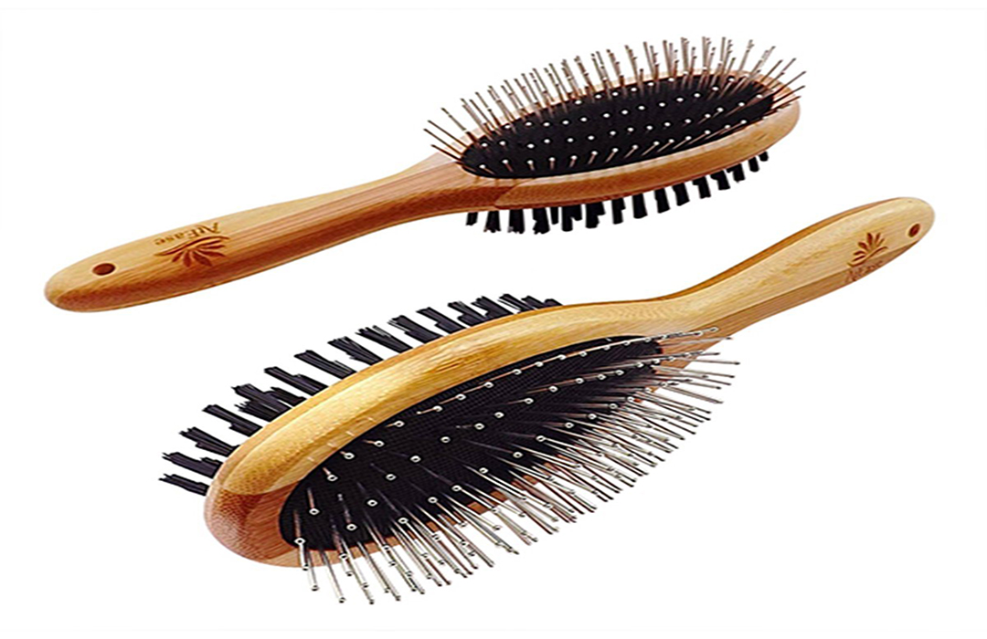 Dual Sided Pin and Bristle Pet Deshedding Brush by AtEase Accents